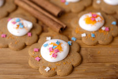 Homemade gingerbread cookies with  icing Stock Photos