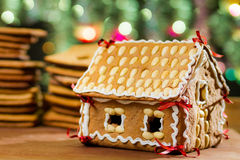 Homemade gingerbread cottage Stock Photography