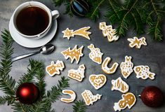 Homemade gingerbread and a cup of tea Stock Image