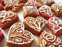 Homemade gingerbread hearts Royalty Free Stock Photos
