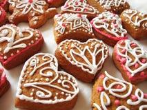 Homemade gingerbread hearts Royalty Free Stock Photos
