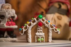 Homemade Gingerbread house with candies stock photo