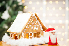Homemade gingerbread house. With felt Santa Claus Royalty Free Stock Images