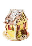 Homemade gingerbread house. Isolated on a white background Royalty Free Stock Photos