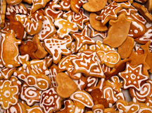 Homemade gingerbread / Lebkuchen. Decorated gingerbread cookies baked for christmas. These are traditional gingerbread cookies from Slovakia but similar to vector illustration