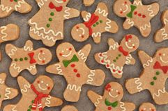 Homemade gingerbread man cookies, festive Christmas and New Year sweeties. Background card stock photography
