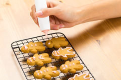 Homemade gingerbread man Stock Images