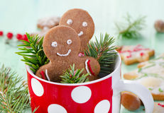 Homemade gingerbread men Royalty Free Stock Images