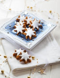 Homemade gingerbread star cookies for Christmas Stock Images