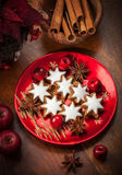 Homemade gingerbread star cookies for Christmas Stock Photos