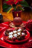 Homemade gingerbread star cookies for Christmas Royalty Free Stock Images