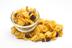 Homemade, a glass bowl of honey caramel cornflakes royalty free stock images