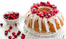 Homemade glazed cranberry cake with fresh berries  copy space. On white wooden background sample text Royalty Free Stock Photo