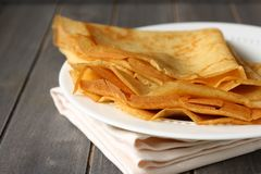 Homemade gluten free pancakes from rice flour, potato starch and millet flour Royalty Free Stock Image