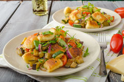 Homemade gnocchi with Mediterranean vegetables Stock Photography