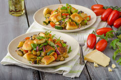 Homemade gnocchi with Mediterranean vegetables Royalty Free Stock Photos