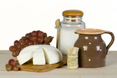 Homemade goat cheese and grapes Royalty Free Stock Images