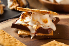 Homemade Gooey Marshmallow S'mores. With Chocolate Stock Image