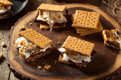 Homemade Gooey Marshmallow S'mores. With Chocolate Stock Photo