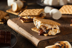 Homemade Gooey S'mores with Chocolate Stock Images