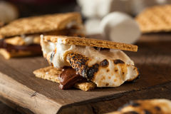 Homemade Gooey S'mores with Chocolate. And Marshmallows Royalty Free Stock Photo