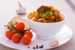 Homemade goulash with slices of bread Royalty Free Stock Photos