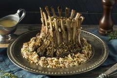 Homemade Gourmet Crown of Lamb. With Rice Pilaf Stock Photos