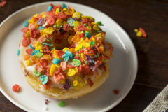 Homemade Gourmet Donuts with Cereal on Top Stock Images