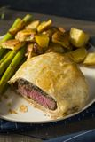 Homemade Gourmet Individual Beef Wellington. Ready to Eat royalty free stock photo