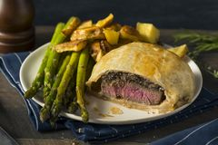 Homemade Gourmet Individual Beef Wellington. Ready to Eat stock images