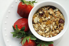 Homemade Granola. With almonds, pecans, raisins, and cranberries with a side of strawberries ready to eat Stock Images