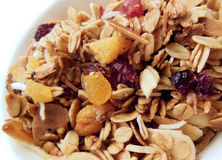 Homemade granola. With oats, coconut, cranberries, apricot and almond slivers Royalty Free Stock Photography