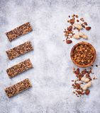 Homemade granola bars with nuts. stock photography