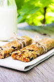 Homemade granola bars with oat flakes, raisin, dried apricot, dried plum with a bottle of fresh milk Royalty Free Stock Photo
