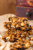 Homemade granola bars with prunes and nuts Stock Photo