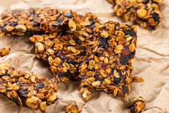 Homemade granola bars with prunes and nuts Stock Photos