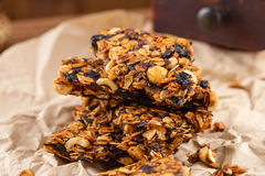Homemade granola bars with prunes and nuts Stock Photography