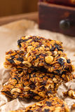 Homemade granola bars with prunes and nuts Royalty Free Stock Photography