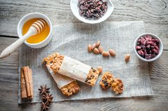 Homemade granola bars on the sackcloth Stock Photography