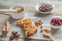 Homemade granola bars on the sackcloth Stock Images