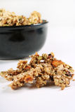 Homemade granola in a black bowl Royalty Free Stock Image