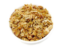Homemade granola. Bowl of homemade granola with pumpkin and sunflower seeds and almonds Royalty Free Stock Image