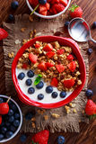 Homemade granola Breakfast with yogurt and fresh fruit berries. concepts health food Stock Photos