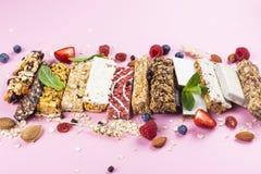 Homemade granola cereal bars royalty free stock photos
