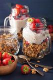 Homemade granola and chia seed pudding with berry healthy breakf Royalty Free Stock Images