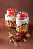 Homemade granola and chia seed pudding with berry healthy breakf Royalty Free Stock Image
