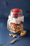 Homemade granola and chia seed pudding with berry healthy breakf Stock Photos