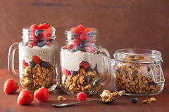 Homemade granola and chia seed pudding with berry healthy breakf Stock Photo