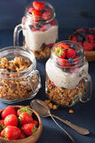 Homemade granola and chia seed pudding with berry healthy breakf Royalty Free Stock Photo