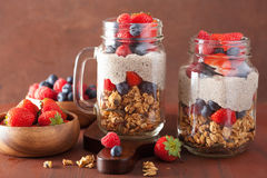 homemade granola and chia seed pudding with berry healthy breakfast stock image